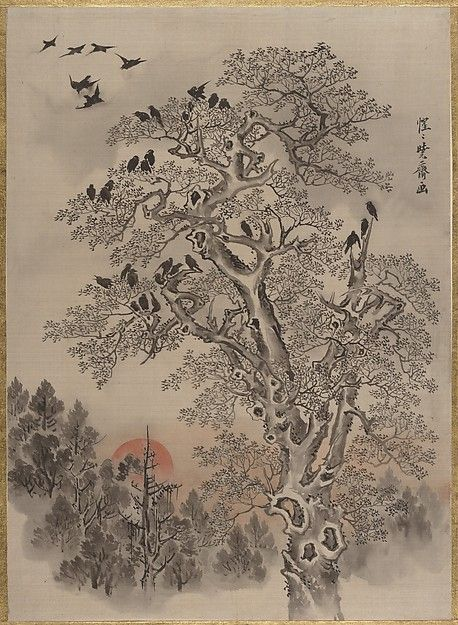 Flock of Crows at Dawn. Artist: Kawanabe Kyōsai (Japanese, 1831–1889). Period: Meiji period (1868–1912). Date: ca. 1887