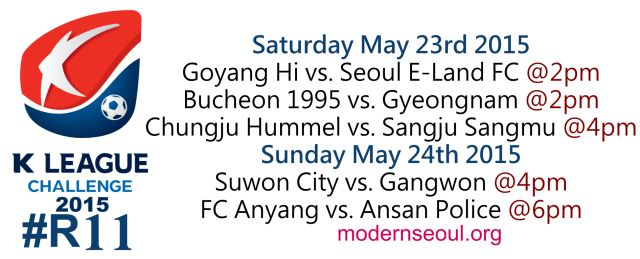 K League Classic 2015 Round 12 and K League Challenge Round 11 – Previews / Predictions (May 23rd-24th) | Modern Seoul