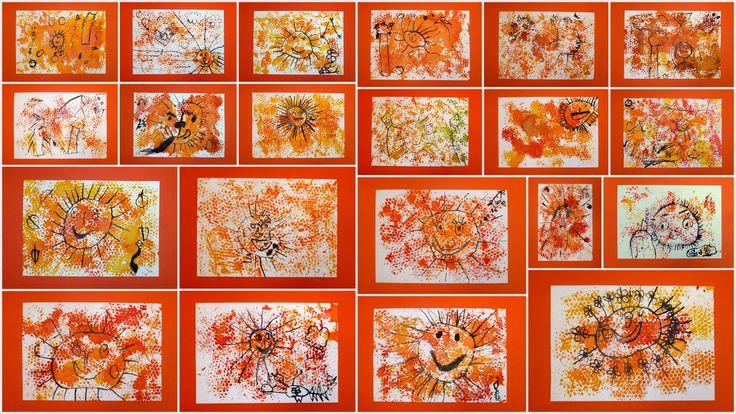 Podzimní sluníčka - 1. třída - bublinková folie, anilinky, tuš