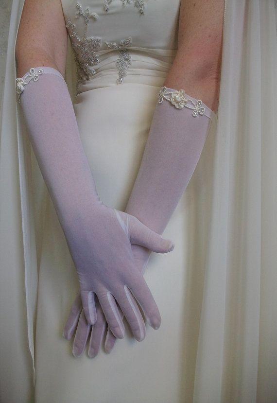 Brides Gloves Ivory organza Gloves Mittens by DesignByIrenne