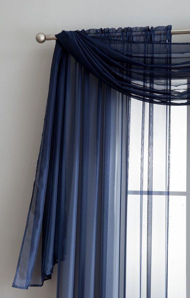 Navy Blue Sheer Curtains