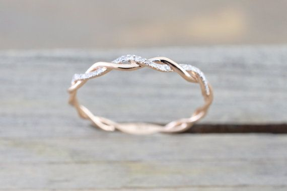 14k Rose Gold Round Cut Diamond Rope Twined Vine Engagement Pave Stackable Stacking Promise Ring Anniversary – Shordy