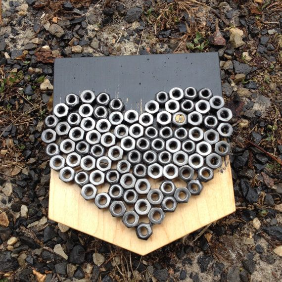 A simple reminder for someone you care about welded steel heart assembled from salvaged hex - Simple metal art projects ...