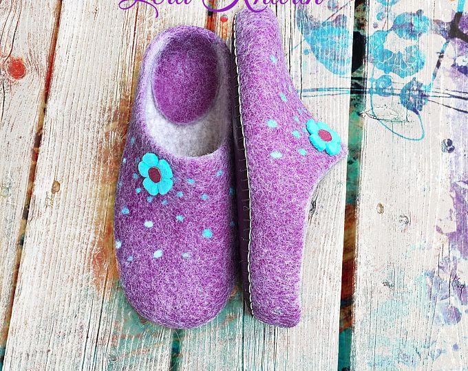 Les femmes feutrée pantoufles, chaussures pour femme de la maison, en laine sabots - cadeau pour vous et votre bien-aimé