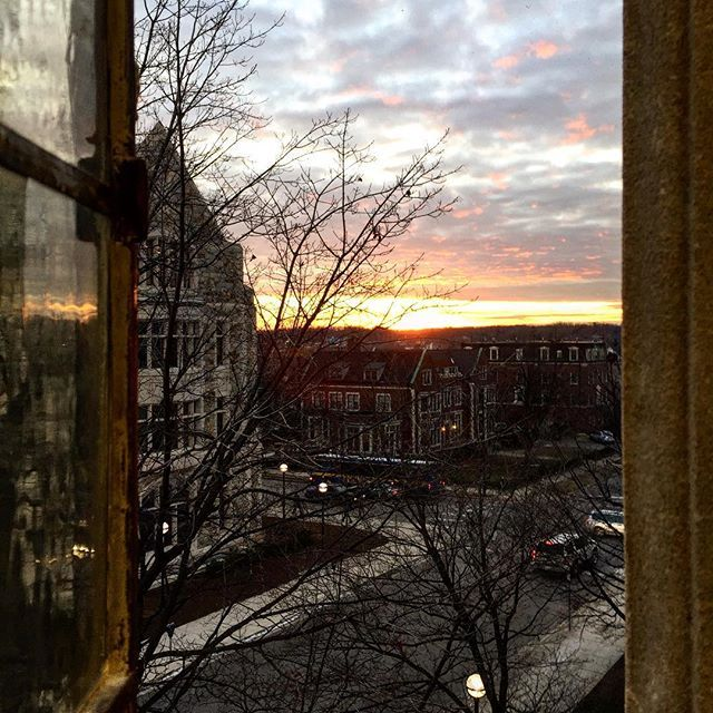 Hutchins Hall is the perfect spot to watch the sunset in Ann Arbor!