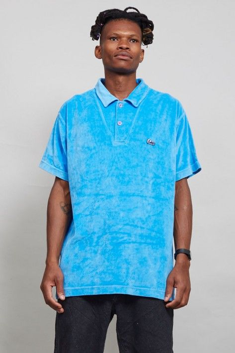 Vintage sky blue 80s velour Lee T-Shirt