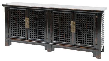 Sideboard 4 Door With Marble, Black asian-buffets-and-sideboards
