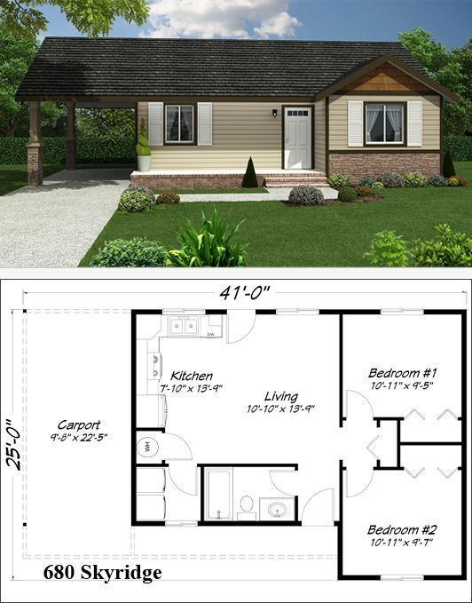 Mother-in-law cottage floor plan.:
