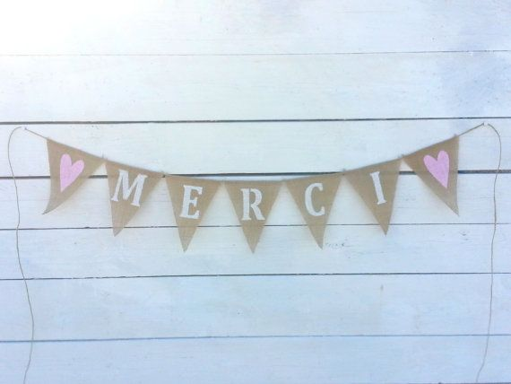 Merci burlap banner with light pink hearts by MirtilloShop on Etsy, $22.00