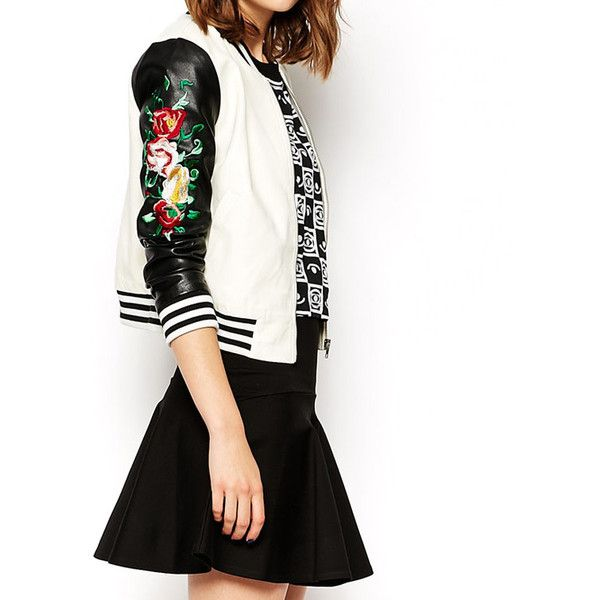 Leather Look Baseball Jacket With Embroidered Sleeves ($44) ❤ liked on Polyvore featuring outerwear, jackets, white, synthetic leather jacket, fake leather jacket, sleeve jacket, vegan leather jacket and imitation leather jacket