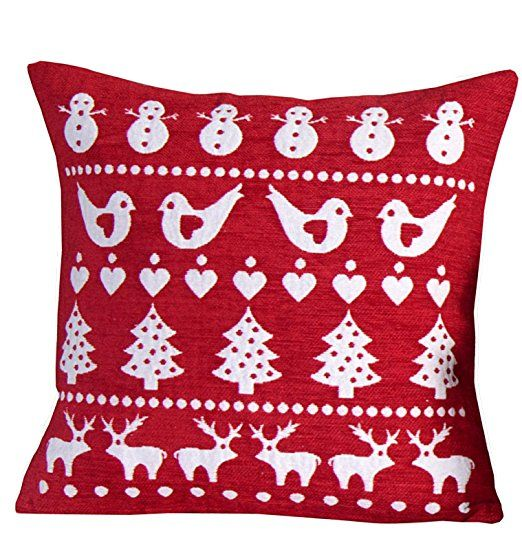 Take A Look Round This Cosy Victorian Terrace With Modern: Christmas Red Scandinavian Robin Cushion Cover Chenille