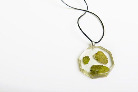 Mint leaves sinked in resin by MiyyoART on Etsy, $25.00