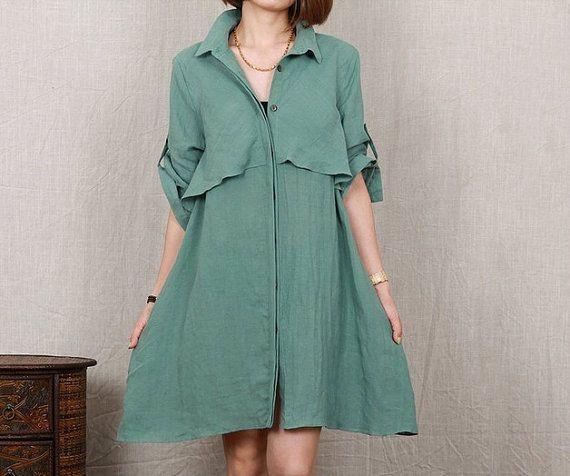 women linen dress linen shirt  cotton dress large by cottondress23