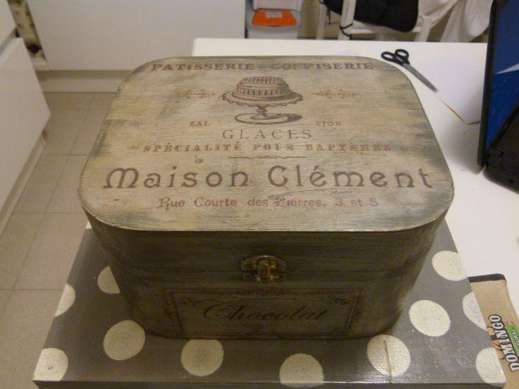 scatola in MDF decorata con trransfer