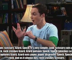 I <3 Sheldon Cooper.Sheldon Cooper, Rocks Paper Scissors, Geek Stuff, Lizards Spock, Big Bang Theory, Big Bangs Theory, Funny, Humor, Bazinga Sheldon