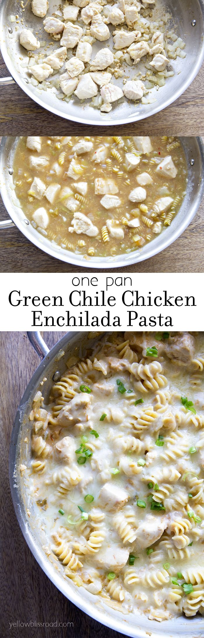 One Pan Green Chile Chicken Enchilada Pasta! A quick and delicious meal with EASY clean up!