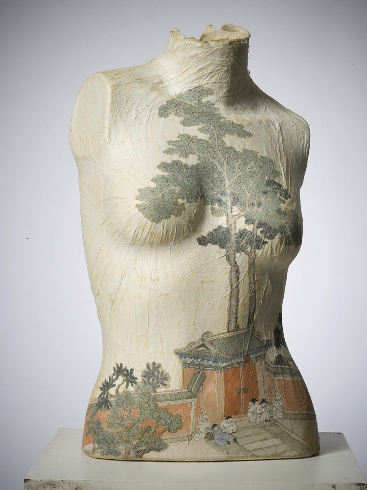 Peng Wei's work combines classical Chinese painting and subjects with altered traditional and contemporary materials.