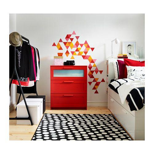 BRIMNES Kommode mit 3 Schubladen - rot/Frostglas - IKEA