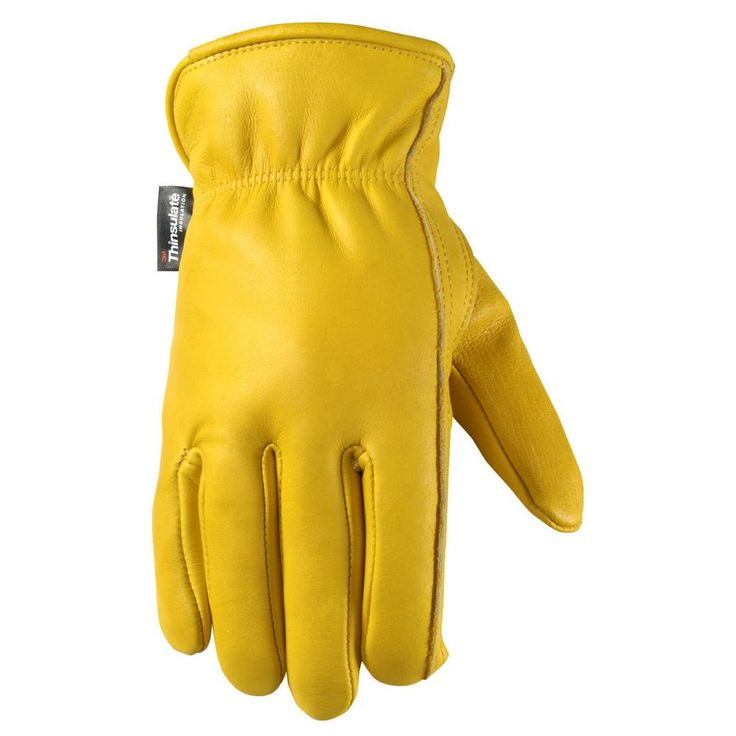 Men's Ultra Comfort, Insulated Grain Cowhide Leather Work Gloves, Extra-Large, Yellow