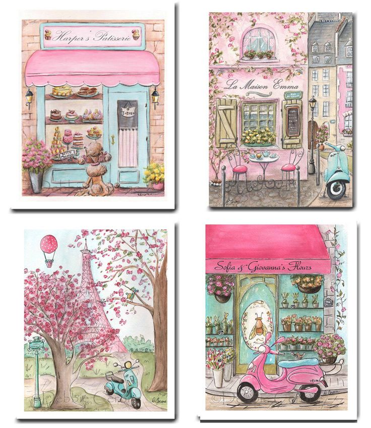Pink Paris Nursery Decor, Set Of 4 Unframed Prints For Girls French Baby Nursery, Personalized Baby Art, 6 Sizes, Girl Baby Shower Gift by NurseryRembrandts on Etsy https://www.etsy.com/listing/507070634/pink-paris-nursery-decor-set-of-4