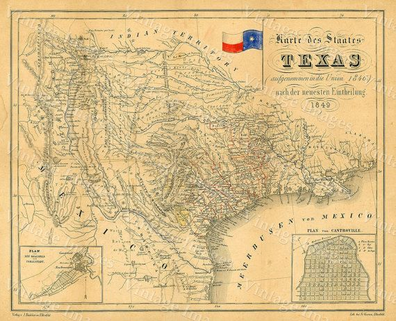 1849 Map Of Texas Old Texas Map, TEXAS, Map Of Texas, Vintage Map. Texas  Wall ArtAntique ...