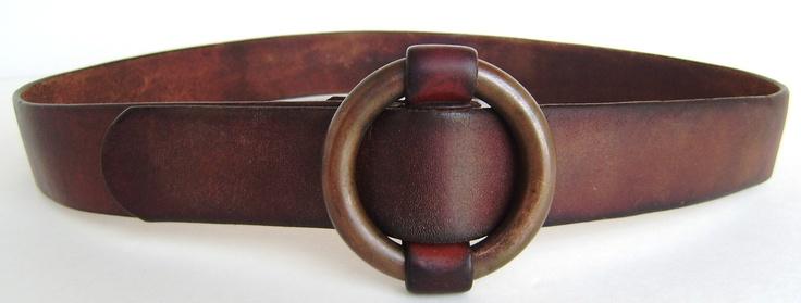 Vintage Mens Leather Belt w/ Copper Ring Slide-thru Buckle