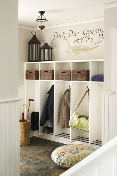 mud room - rods on the bottom of the coat hangers for shoes/off the floor