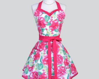 Vestido delantal Retro verano amor rosa y blanco Floral estilo Vintage para mujer delantal pone Ideal boda o regalo de anfitriona para ella