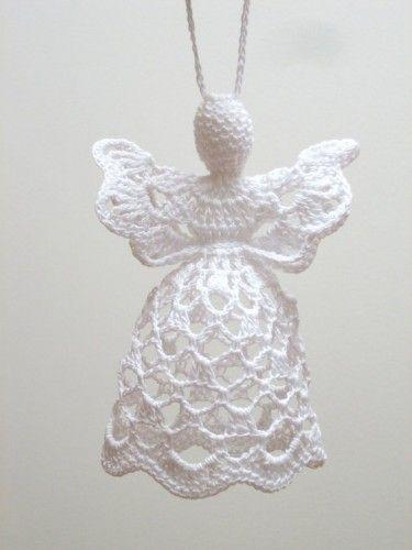 White crochet angel. Angel decoration. Christmas angel decor. Christening Wedding decor. Angel ornament.c