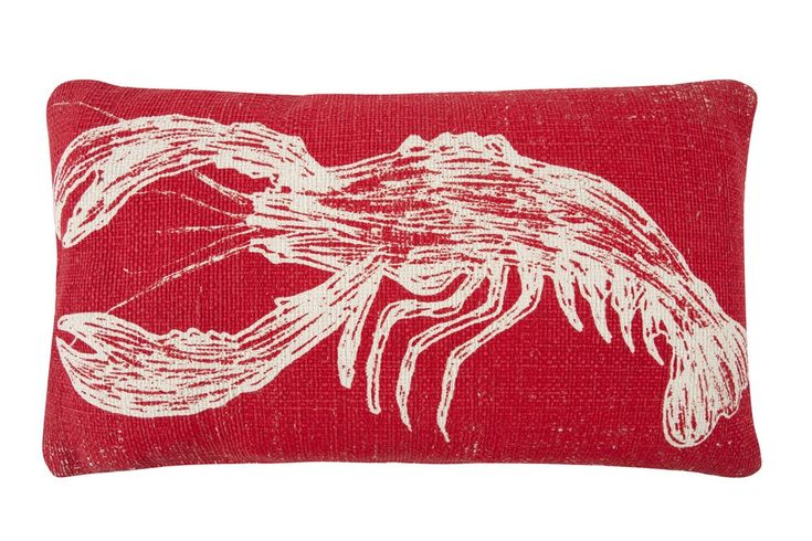 Lobster Sketch Grain Sack Pillow design by Thomas Paul