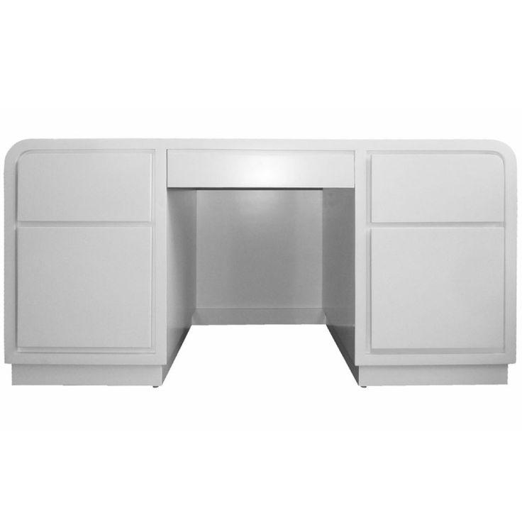 1980S White Lacquer Desk In The Manner Of Karl Springer