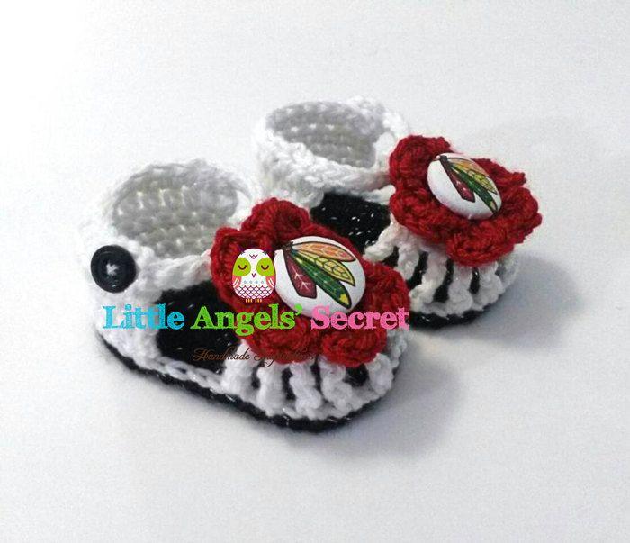 Crochet Chicago Blackhawks Baby sandals Crochet Chicago hockey sandals hockey crochet sandals photo prop Crochet sandals.