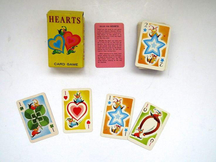 Vintage Mini HEARTS Playing Cards Game in Original Box - 1951 by Whitman - Complete Deck - Family Kids Games - Collectible - Arts Crafts by shabbyshopgirls on Etsy