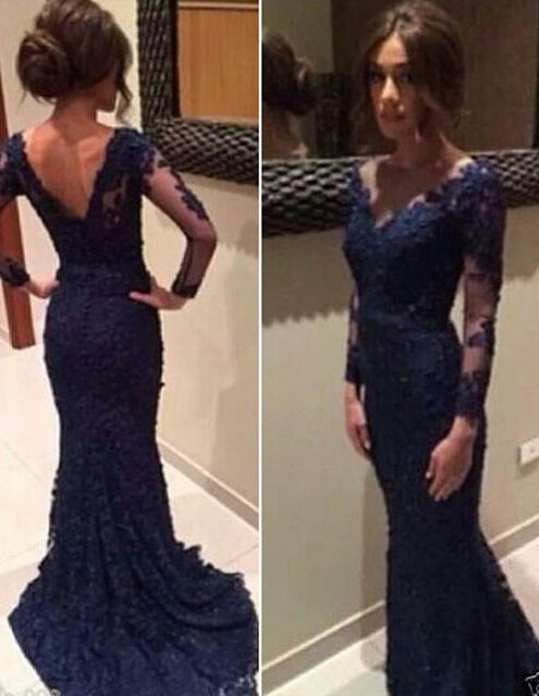 Long Sleeves Dark Blue Lace Mermaid Prom Dresses,V Neck Navy Blue Long Prom Dress,Formal Evening Prom Gowns,Mother's Dress