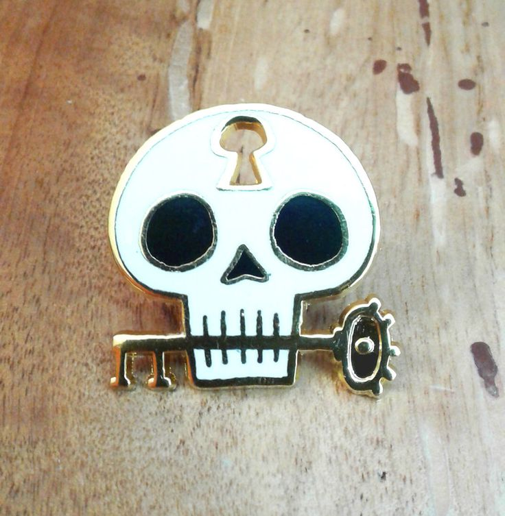 Unlock The Mind Skull Enamel Pin by theGorgonist on Etsy