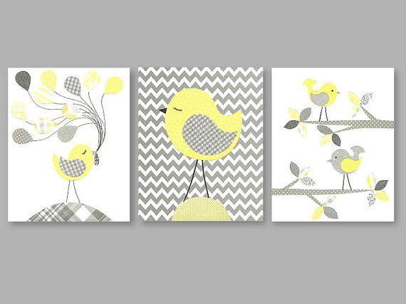 Nursery Art Gray and Lemon Yellow Zig Zag Chevron Decor Gender