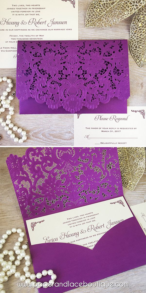 ERICA - Purple Laser Cut Pocket Wedding Invitation - Champagne Gold Invitation Inserts - Plum Purple Wedding Invitation - Lace Pocket Invite