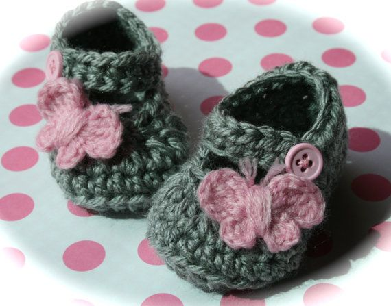 Gray and Pink mary janes butterfly baby girl gift by tweetotshop.