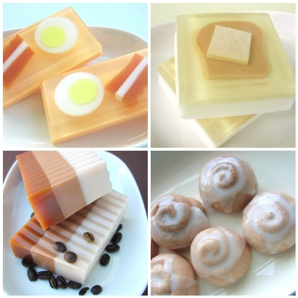 The Breakfast Soap Collection by #sunbasilgardensoap #Etsy #glycerinsoap #giftsoap #eggs #bacon #toast #coffee #buns #naturalglycerin #handmade #handcrafted #uniquesoap