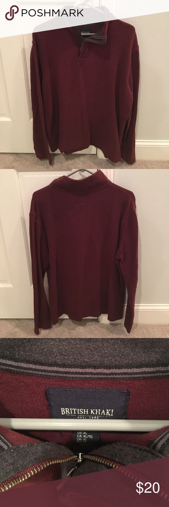 British Khaki 1/4 zip long sleeve pullover XL British Khaki 1/4 zip burgundy 100% cotton pullover sweater.  XL EUC no rips no stains. Gray accent color on collar and leather pull on zipper. British Khaki Sweaters Zip Up