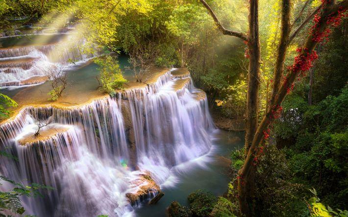 Download wallpapers Huai Mae Khamin, waterfall, rainforest, evening, sunrays, Kanchannaburi, Thailand
