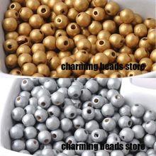 6 mm 1000 unids oro / plata de madera espaciador de los granos redondos joyería apta que hace DIY MT0224(China (Mainland))