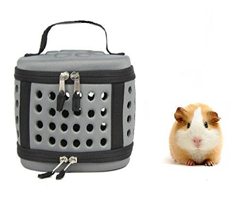 Portable Mini Poodle Puppy Carrier Hamster Cage - Cute Travel Carrier Hard-sided Cage for Small Animal Puppy Kitty Hedgehog (Grey)  ♥Innovative Environmental EVA Materials - Good Softness High Strengthen,Non-toxic,Shockproof,Antisepsis, Ageing resistance,Anticorrosion properties, ensure Pets a HEALTHY ENVIRONMENT.  ♥Easy Install - Foldable Flat Design 2 steps Zip up Quick Install,Sapce save and Super convenient for storage or carry out,smart choice for traveling!  ♥Safe & Sturdy - Hard...