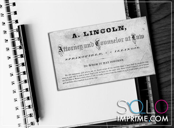 Tarjeta de Presentación, Famosos, Originales, Abraham Lincoln