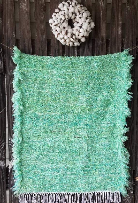 Pale Green Shaggy Rag Rug Hand Loomed Rug Washable Mat Green Etsy Rag Rug Handmade Rag Rug Green Kitchen Rug