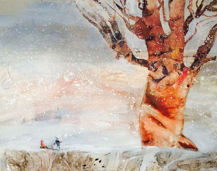First snow with Oscar and Evelina, b90x70cm Made by: Tove S. Holmøy#tree#norwegian art#forrest#snow#children