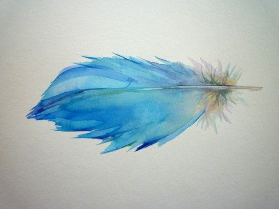 Watercolor feather, tattoo idea, would love on my back or shoulder!