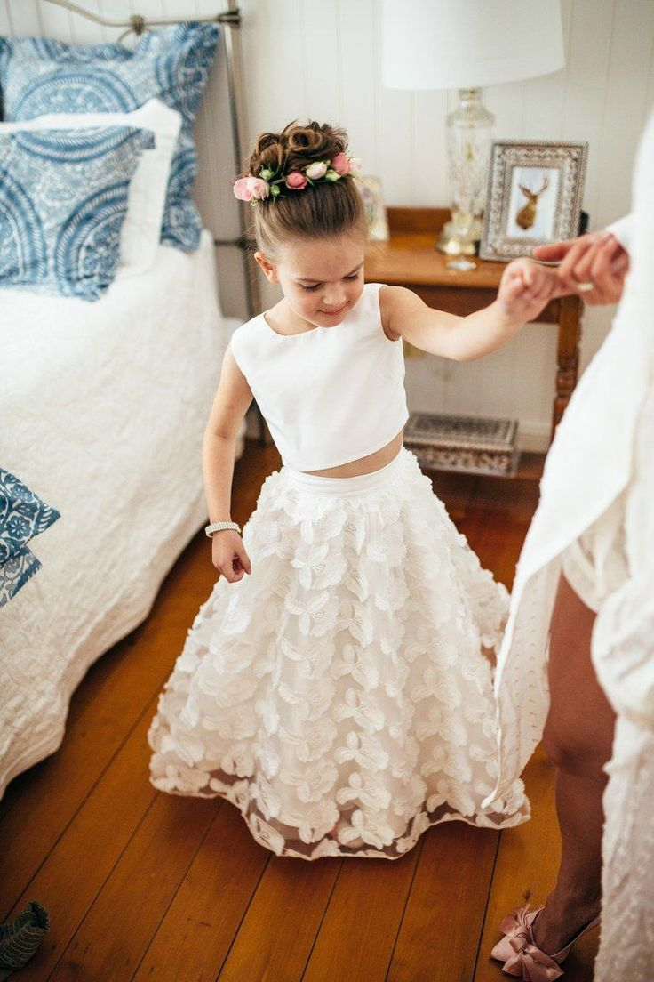 Flower Girl Dress with Full Skirt and Crop Top #WeddingFlowers