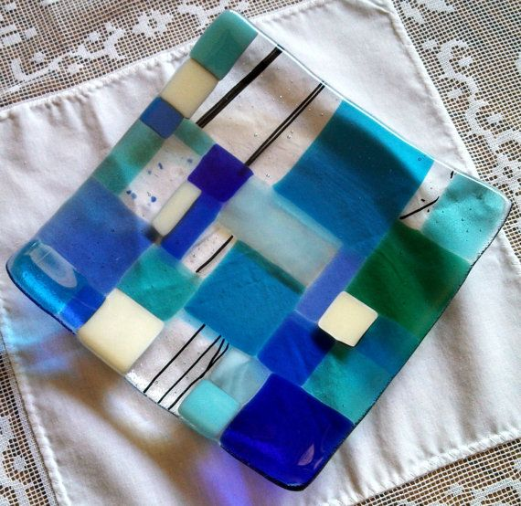 Fused Glass Plate, Modern Mosaic Blue