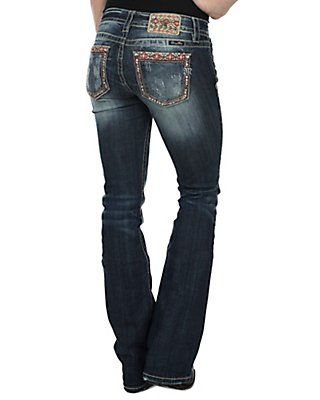 Miss Me Women's Medium-Dark Wash Aztec Edge Open Pocket Mid-Rise Boot Cut Jean